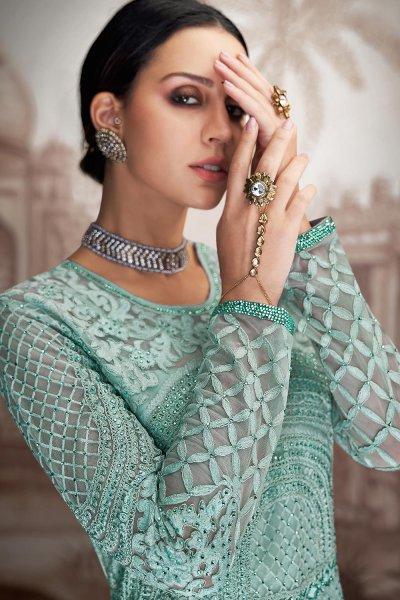 Pastel Blue Net Anarkali Suit