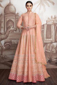 Peach Georgette Anarkali Suit