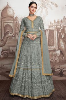 Grey Georgette Anarkali Suit