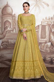Yellow Georgette Anarkali Suit