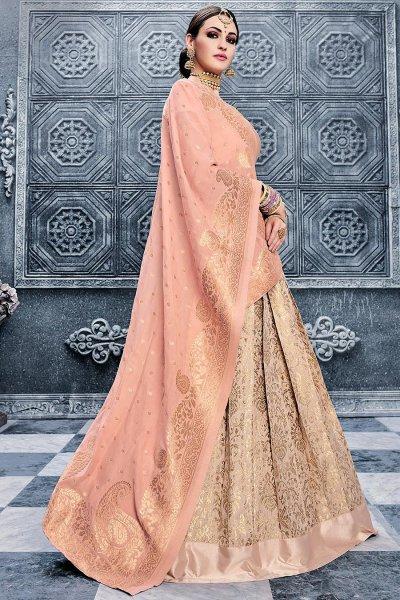 Sandy Tan Banarasi Silk Lehenga Choli with Peach Georgette Dupatta