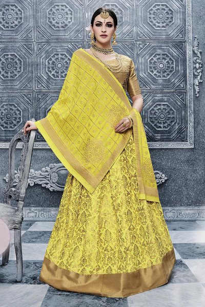Yellow Banarasi Silk Lehenga Choli with Georgette Dupatta