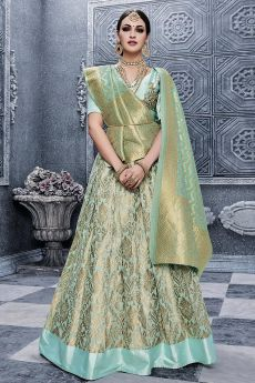 Misty Teal Banarasi Silk Lehenga Choli with Georgette Dupatta