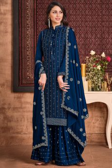 Navy Blue Silk Sharara Suit With Sequin And Swarovski Embellishment