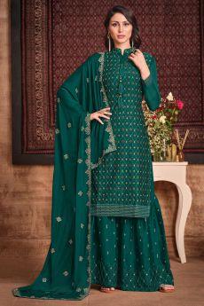 Dark Green Silk Sharara Suit With Sequin And Swarovski Embellishment