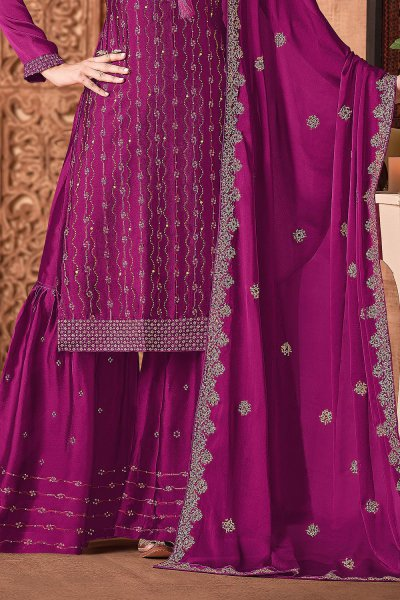 Magenta Silk Sharara Suit With Sequin And Swarovski Embellishment