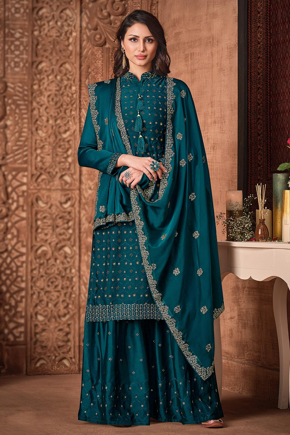 Teal Blue Silk Sharara Suit With Sequin And Swarovski Embellishment