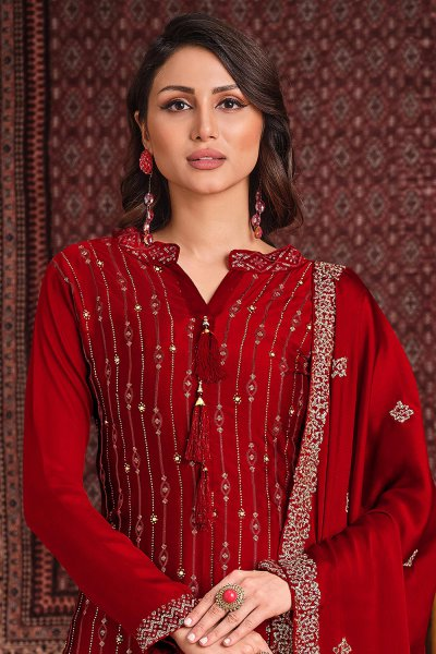 Red Silk Sharara Suit With Sequin And Swarovski Embellishment