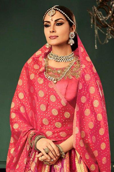 Coral Pink Banarasi Silk Lehenga