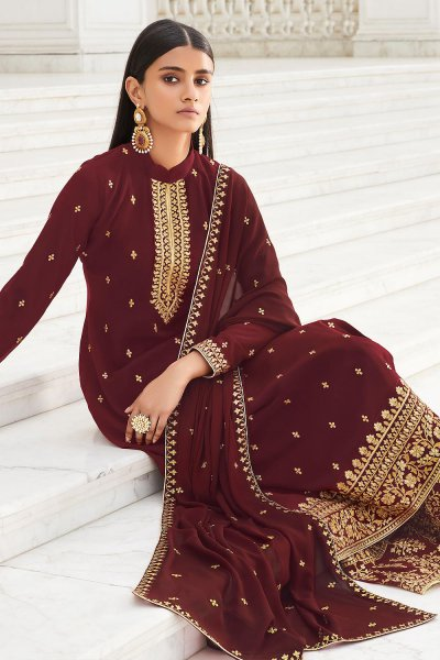 Garnet Red Zari Embroidered Georgette Flared Palazzo Suit