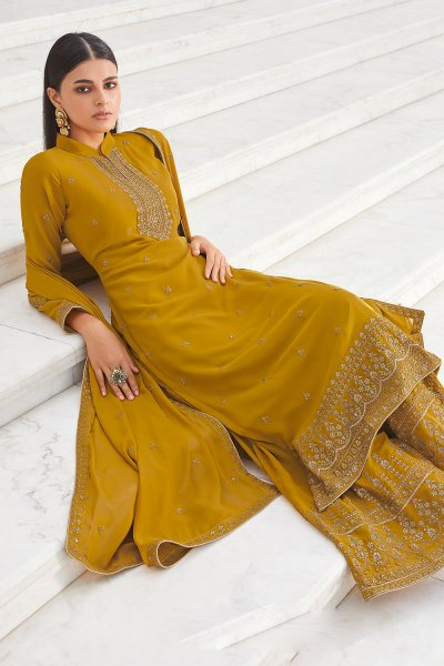 Mustard Yellow Zari Embroidered Georgette Flared Palazzo Suit