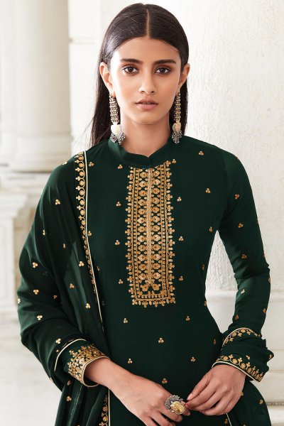 Bottle Green Zari Embroidered Georgette Flared Palazzo Suit