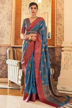 Blue Tussar Silk Weaved Saree