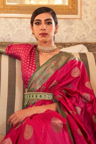 Pink Tussar Silk Weaved Saree