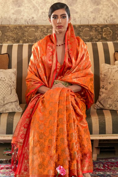 Orange Tussar Silk Weaved Saree