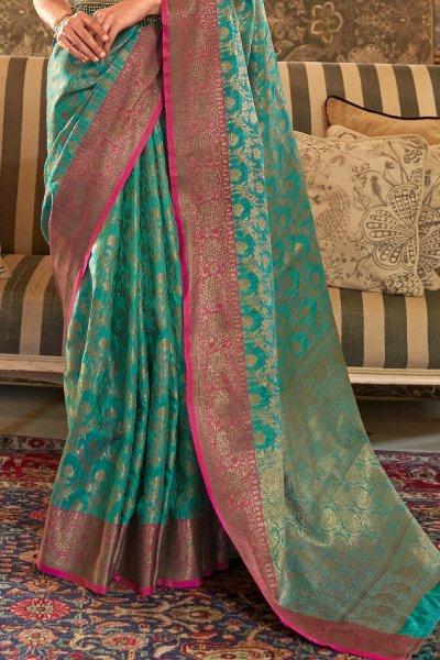 Turquoise Tussar Silk Weaved Saree