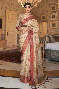 Off White Tussar Silk Weaved Saree