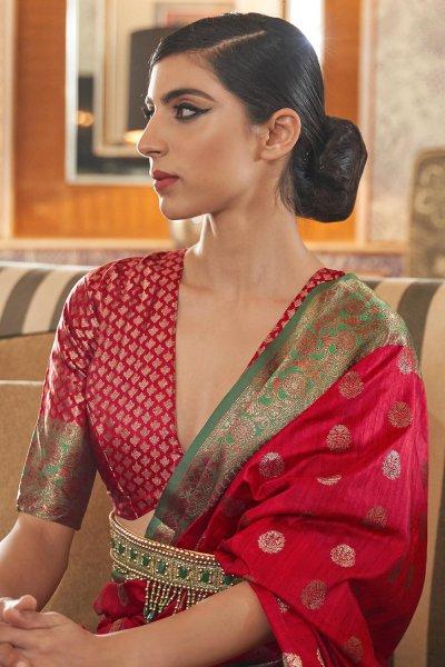 Red Tussar Silk Weaved Saree