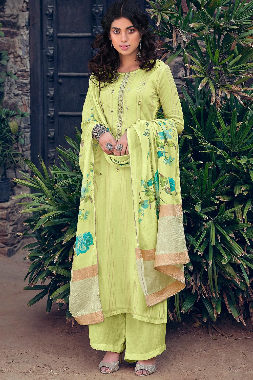 Light Lime Pure Muslin Zari Lining Palazzo Suit with Handwork