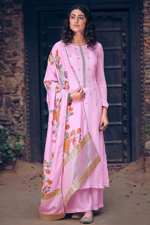 Pink Pure Muslin Zari Lining Palazzo Suit with Handwork