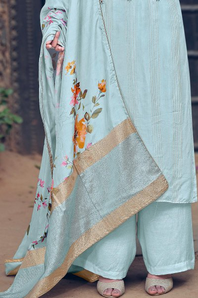 Powder Blue Pure Muslin Zari Lining Palazzo Suit with Handwork