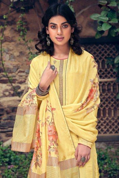 Yellow Pure Muslin Zari Lining Palazzo Suit with Handwork