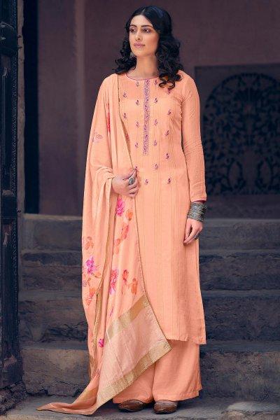 Peach Pure Muslin Zari Lining Palazzo Suit with Handwork