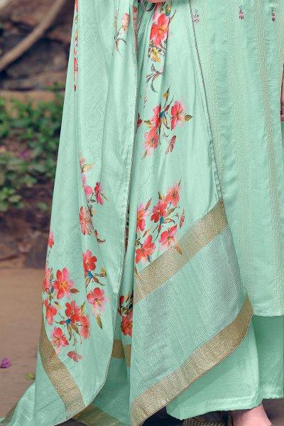 Pastel Blue Pure Muslin Zari Lining Palazzo Suit with Handwork