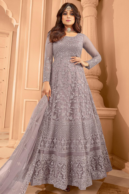 Dusky Mauve Zari Embroidered Anarkali Suit