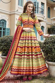 Ready To Wear Multicolored Chevron Style Patola Print Indian Silk Anarkali Dress