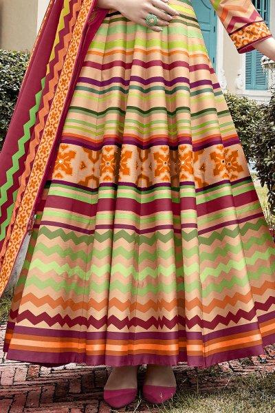 Multicolored Chevron Style Patola Print Indian Silk Anarkali Dress