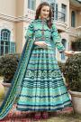 Blue Chevron Style Patola Print Indian Silk Anarkali Dress