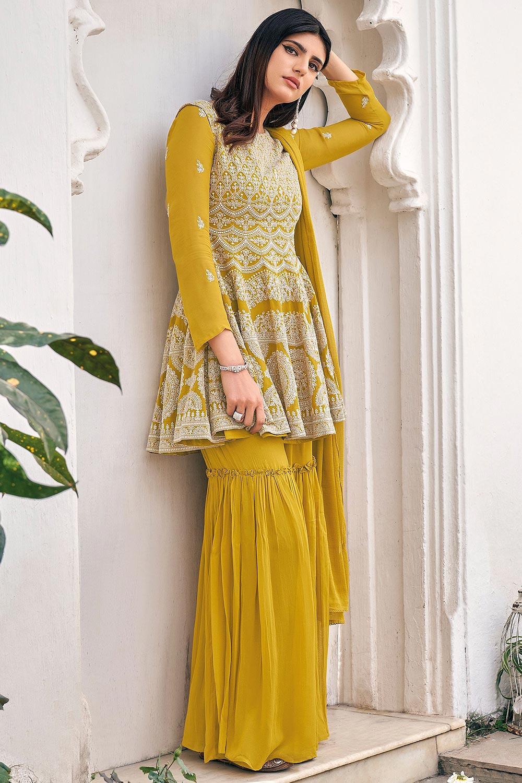 Ready To Wear Mustard Yellow  Peplum Style Georgette Kurta with Sharara