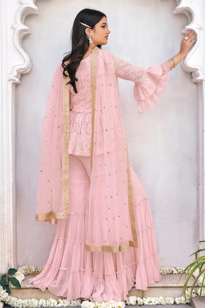 Ready To Wear Pastel Pink  Peplum Style Georgette Kurta with Tiered Palazzo