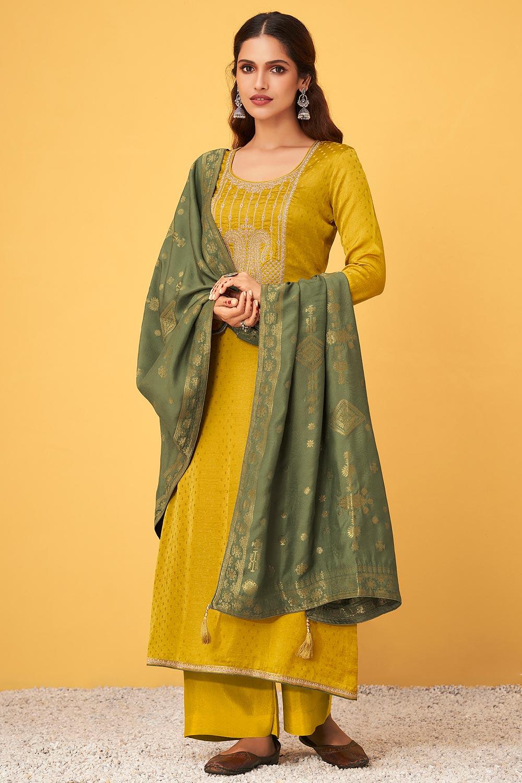 Mustard Zari Embroidered Silk Palazzo Suit