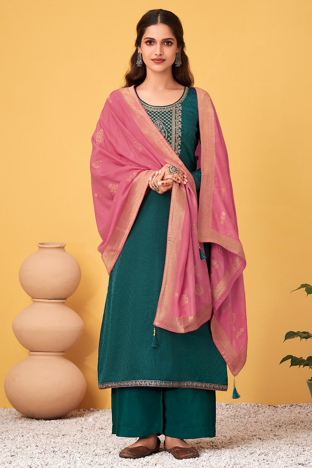 Teal Blue Zari Embroidered Silk Palazzo Suit