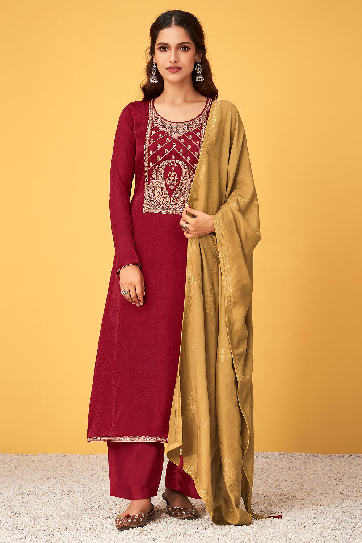 Wine Red Zari Embroidered Silk Palazzo Suit