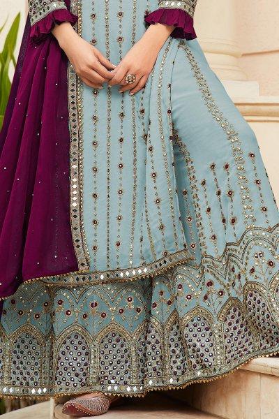 Pastel Blue Colour Embellished Georgette Kurta Palazzo Set