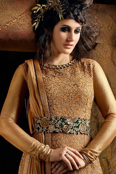 Golden Georgette Suit with Heavy Embroidery And Belt