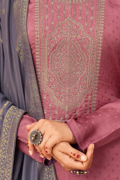 Onion Pink Zari Embroidered Silk Palazzo Suit