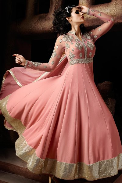 Pink Georgette Anarkali Suit with Heavy Embroidery