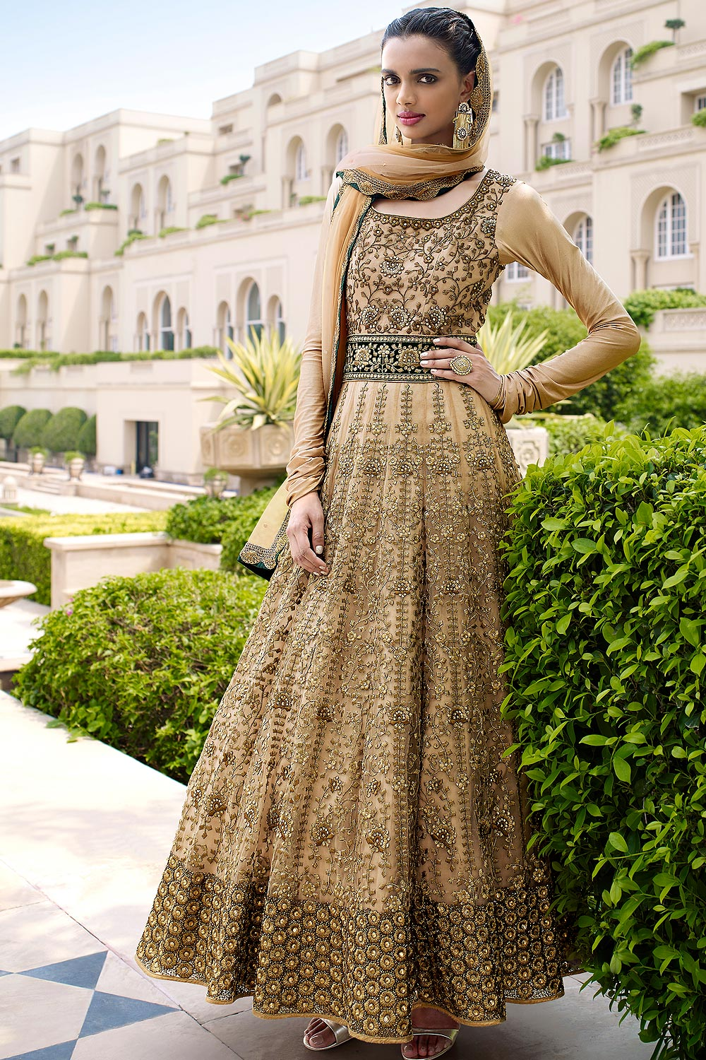 Dull Golden NetAnarkali Suit with Heavy Embroidery