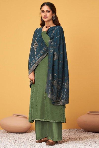 Moss Green Zari Embroidered Silk Palazzo Suit