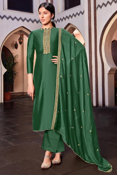 Dark Green Silk Suit Palazzo set