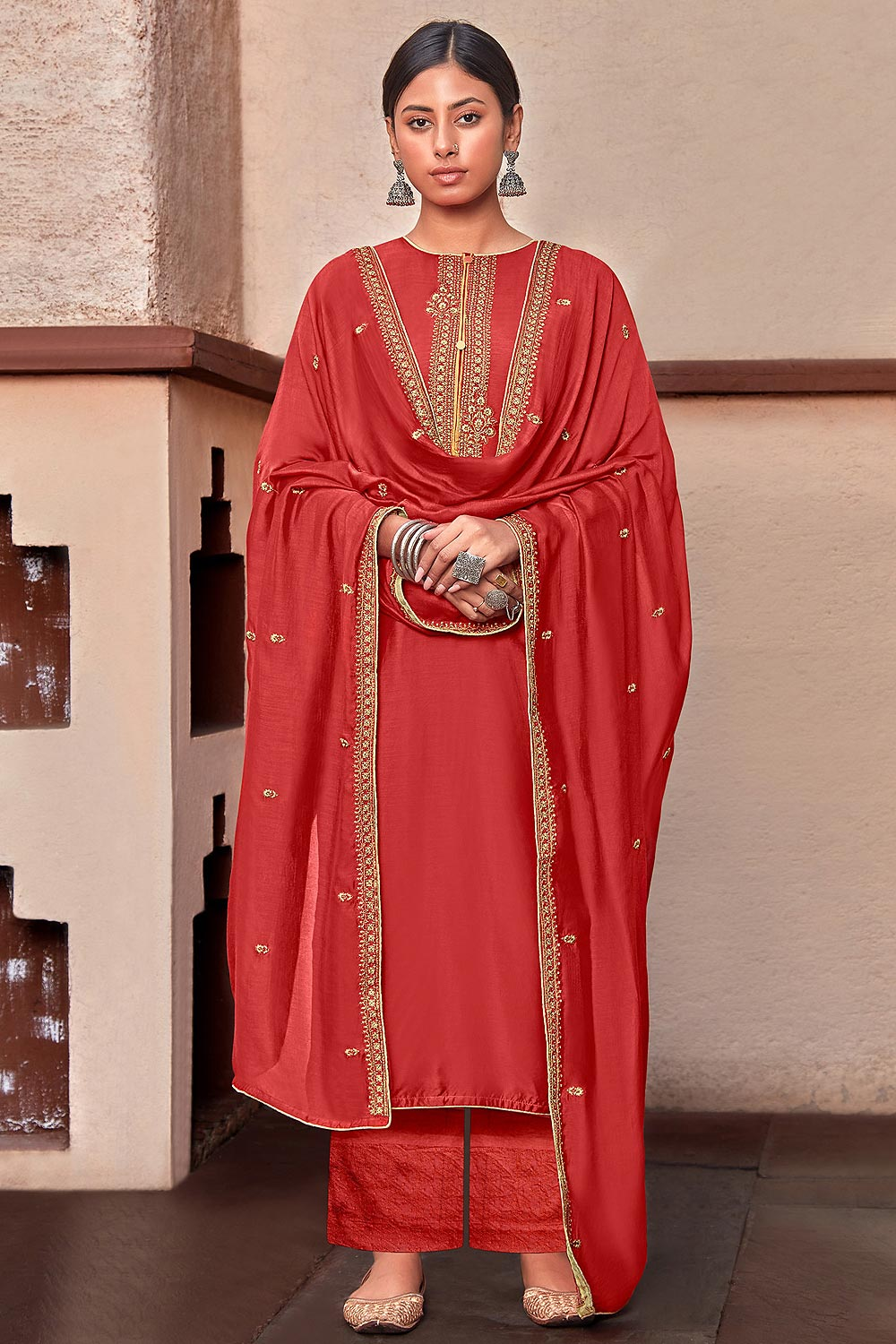Red Silk Suit Palazzo set