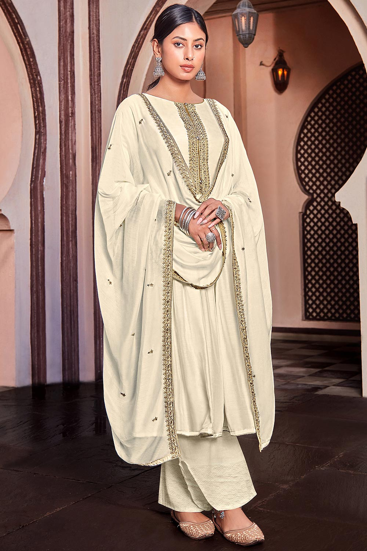 White Silk Suit Palazzo set