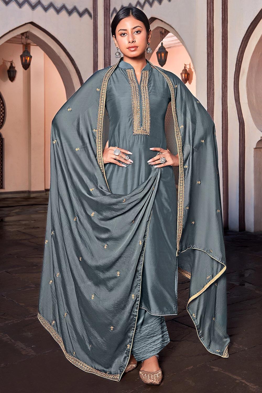 Dusty Blue Silk Suit Palazzo set