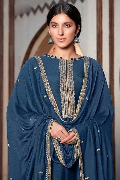 Blue Silk Suit Palazzo set