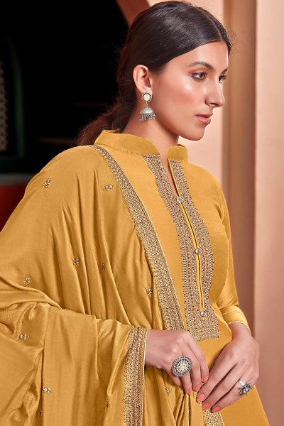 Mustard Yellow Silk Suit Palazzo set