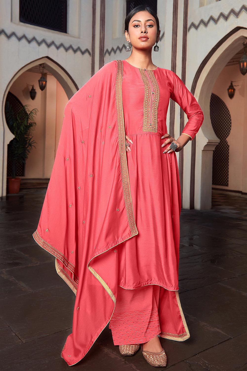 Coral Pink Silk Suit Palazzo set